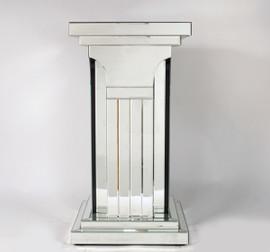 "Silver Beveled Glass Mirror - 29.5"" Pedestal - Art Deco Style, 4721"