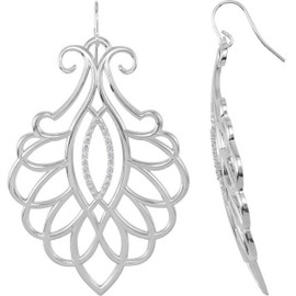 28 Diamonds and Supreme Sterling Silver 925 | Big and Bold Medallion Scroll Dangle Earrings