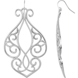 32 Diamonds and Supreme Sterling Silver 925 | Big and Bold Heart to Heart Scroll Dangle Earrings
