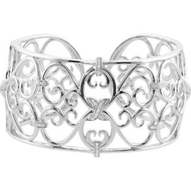 48 Diamonds and Supreme Sterling Silver 925 | Heart to Heart Scroll Cuff Bracelet