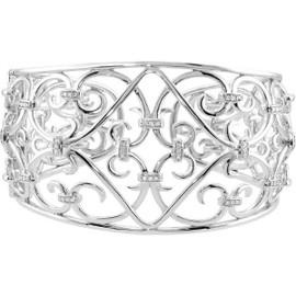 41 Diamonds and Supreme Sterling Silver 925 | Medallion Scroll Cuff Bracelet