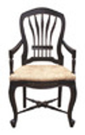 Custom Decorator - Classic 39 inch Dining Arm Chair - Wood Back and Fancy Rush Seat