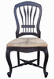 Custom Decorator - Classic 39 inch Dining Side Chair - Wood Back and Fancy Rush Seat