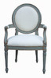 Custom Decorator - Classic 41.3 inch Dining Arm Chair - Upholstered Back and Seat