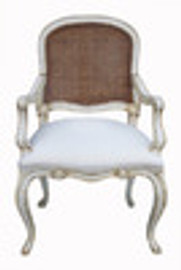 Custom Decorator - Classic 39.4 inch Dining Arm Chair - Cane Back | Upholstered Seat