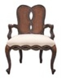 Custom Decorator - Classic 40.6 inch Dining Arm Chair - Cane Back | Upholstered Seat