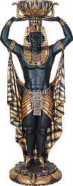 Cast, Egyptian Design 73 Inch Indoor | Outdoor Plant Stand | Pedestal Planter