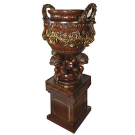 Cast, Cherub and Garland Design 79 Inch Urn & Plinth, Pedestal Planter