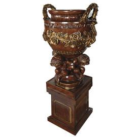 Cast, Cherub and Garland Design 79 Inch Cassolette Urn & Plinth, Pedestal Planter
