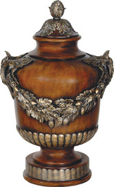 Cast, Neo Classical Garland Design 32 Inch Covered Urn, Rich Wood Tone Finish with Gilt Accents