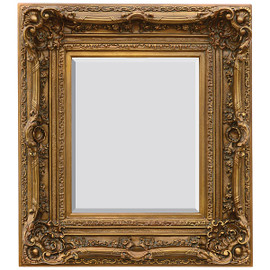 "A French Baroque Louis Quatorze Style, 7.5""w Oversized Frame, Medium 42""t Drama Bevel Glass Antiqued Gold Mirror, 6969"