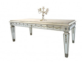 Reverse Hand Painted Silver Mirror - 72 Inch Breakfast, Rectangular Dining Table - Louis XVI Neo Classical Style