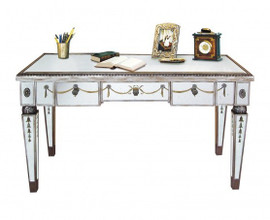 Reverse Hand Painted Silver Mirror - 48 Inch Bureau Plat Writing Desk, Sofa Table - Louis XVI Neo Classical Style