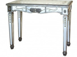 Reverse Hand Painted Silver Mirror - 48 Inch Entry Console or Sofa Table - Louis XVI Neo Classical Style