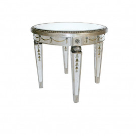 Reverse Hand Painted Silver Mirror - 42 Inch Center Table, Small Round Dining Table - Louis XVI Neo Classical Style