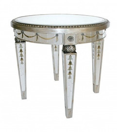 Reverse Hand Painted Silver Mirror - 26 Inch Round Side, End, Lamp Table - Louis XVI Neo Classical Style
