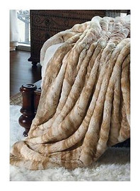 """Palomino Mink - Luxaire Faux Fur Throw - Natural look & Luxuriously Soft - 83"""" Oversized, 4454"""