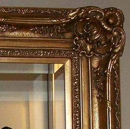 """Mirror Beveled 1.5"""" Wide Drama Bevel, Looking Glass 20"""" X 16"""" Drama Bevel Looking Glass Pictured with Style 0222, 7.5"""" Oversized Frame, 4435"""
