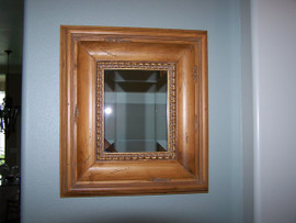 """#Carved Pine and Gold, 5.25"""" Wide Distressed Frame, Small 26"""" x 22"""" Drama Bevel Traditional Mirror, 4429"""