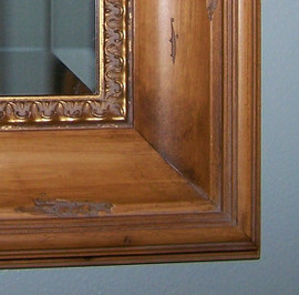 """Carved Pine and Gold, 5.25"""" Wide Distressed Frame, Medium 34"""" x 30"""" Drama Bevel Traditional Mirror, 4425"""