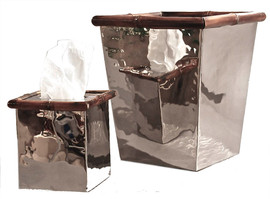 A Contemporary Steel with Bamboo Accents, Boutique Tissue Box, Polished Nickel Finish