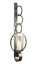 An Industrial Style - Iron Hurricane Candle Holder - 39.25 Inch Wall Bracket Sconce - Bronze Finish