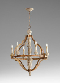 An Italian Farmhouse Style - 35 Inch Wrought Iron and Wood Six Light Chandelier - Rustic Bronze and Shabby Chic Distressed White Finish