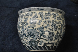 Blue and White - Luxury Handmade Reproduction Chinese Porcelain - 20 Inch Fish Bowl | Planter | Lamp Table Base Style 35