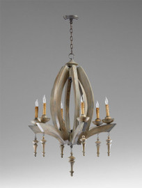 An Italian Farmhouse Style - 36 Inch Solid Wood Six Light Chandelier - Shabby Chic   Distressed Finish