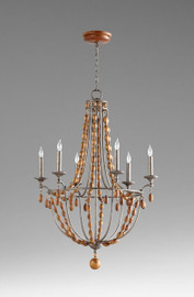 A French Provincial Style - Wood and Wrought Iron - Six Light Chandelier - French Bronze Finish