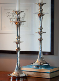 Contemporary Disc, Crafted in India Taper Candle Holder Pair, 16.5 Inch Aluminum Candlestick Set, Polished Nickel Finish