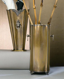 Luxueux Indian Brass Umbrella Stand - 19 Inch Oval Serpentine Umbrella Vase - Antiqued Brass and Silver Finish