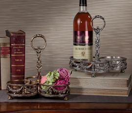 Guirlande de Butin, Swag Garland Indian Brass Caddy, 9 Inch Wine Holder, Antiqued Silver Finish