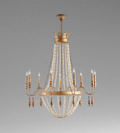 A French Provincial Style - Wood and Wrought Iron - Nine Light Chandelier - Gilded French Finish