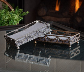 Guirlande de Butin - Swag Garland Indian Brass Rectangular Tray - 9.5 Inch Guest Towel Holder - Antiqued Silver Finish