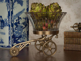 Fluted Pattern, Indian Brass 12 Inch Rickshaw Cart with Cut Crystal Bowl | Dish, Antiqued Brass Finish