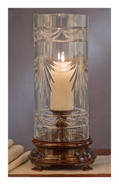 Swag Pattern, 19.5 Inch Pillar Candle Holder with Cut Crystal Hurricane Shade, Antiqued Cherry Bronze Finish