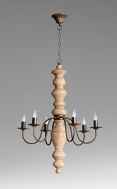 A French Country Style - Wood and Wrought Iron - Six Light Chandelier - Rustic Finish