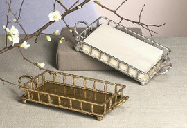 Bamboo - Indian Brass Guest Towel Holder - 12 Inch Tray - Aged Silver Finish - Set of Two