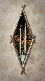 Iron Bamboo and Mirror, Taper Candle Holder Girandole, 18 Inch Diamond Wall Bracket Sconce, Antiqued Silver Finish