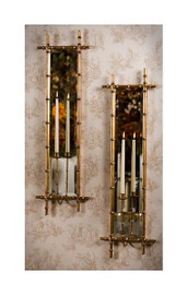 Iron Bamboo and Mirror, Taper Candle Holder Girandole, 40 Inch Wall Bracket Sconce, Antiqued Gold Finish