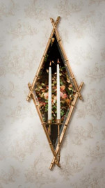 Iron Bamboo and Mirror, Taper Candle Holder Girandole, 18 Inch Diamond Wall Bracket Sconce, Antiqued Gold Finish