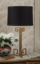 Iron Bamboo - Accent, Tabletop, Lamp - 32 Inch, Round Shape - Antiqued Gold Finish
