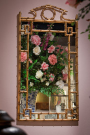Iron Bamboo - Accent Plate Glass Pediment Mirror - 42 Inch Rectangular Shape - Antiqued Gold Finish