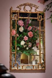 "Iron Bamboo - Accent Plate Glass Pediment Mirror - 42"" Rectangular Shape - Antiqued Gold Finish, 4162"