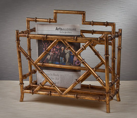 Iron Bamboo, Magazine Rack, 17 Inch Rectangular Stand, Antiqued Gold Finish