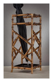 Iron Bamboo, Umbrella Storage Frame, 21 Inch Square Stand, Antiqued Gold Finish