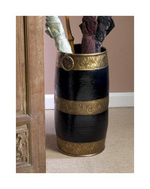 Horizontal Stripe, Indian Brass Umbrella Storage Vase, 18 Inch Stand, Ebony Black & Antique Brass Finish
