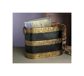 Horizontal Stripe, Indian Brass Magazine Holder, 14 Inch Oval Container, Ebony Black & Antique Brass Finish
