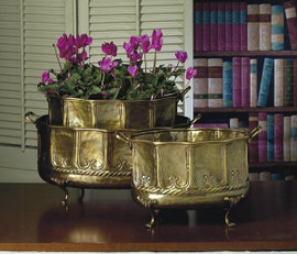 Hammered, Indian Brass Oval Container 3 piece Set, 15 Inch Planter, Antique Brass Finish